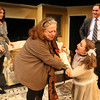 "ALLEGRA BOVERMAN/Staff photo. Gloucester Daily Times. Gloucester: The Cape Ann Theatre Collaborative presents A.R. Gurney's comedy ""Sylvia,"" at the Gloucester Stage Company. From left, in front, are  Jennifer-Lee Levitz as Phyllis and Sylvia, played by Julie Cleveland; at far left is Emily Sinagra as Kate, and Cliff Blake as Greg."