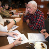 "ALLEGRA BOVERMAN/Staff photo. Gloucester Daily Times. Manchester: Alex Shepard of Manchester is working on his Eagle Scout Project titled ""Remembering Our Veterans."" He is interviewing local WWII and other veterans on Veterans Day at the American Legion Post 113 in Manchester. Seated together talking are, second from right, veteran Bob White, with interviewers Calvin Lamothe, far right, and at left from left: Tatum Hosman and Alyssa Shepard. Looking on in background is Thomas Ambrose."