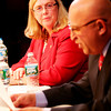 ALLEGRA BOVERMAN/Staff photo. Gloucester Daily Times. Gloucester: Gloucester Mayor and mayoral candidate Carolyn Kirk and candidate Ken Sarofeen during their debate on Wednesday evening at the Gloucester Stage Company.