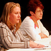 ALLEGRA BOVERMAN/Staff photo. Gloucester Daily Times. Gloucester: Ward 2 candidates Melissa Cox, left, and Ann Mulcahey, during the Council Debates sponsored by the Gloucester Daily Times and Cape Ann Chamber of Commerce and held at the Gloucester Stage Company on Tuesday evening.