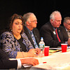 From left, Bruce Tobey, Sefatia Romeo Theken, Garry Ingersoll, Joe Ciolino, Bob Whynott and Mary Ellen Rose, all running for City Council seats, discuss the future of the I-4, C-2 property at the Gloucester Daily Times debate on Wednesday night. Jesse Poole/Gloucester Daily Times Nov. 2, 2011