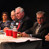 From left, Bruce Tobey, Sefatia Romeo Theken, Garry Ingersoll, Joe Ciolino, Bob Whynott and Mary Ellen Rose, all running for City Council seats, discuss future prospects for the I-4, C-2 property at the Gloucester Daily Times debate on Wednesday night. Jesse Poole/Gloucester Daily Times Nov. 2, 2011