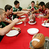 ALLEGRA BOVERMAN/Staff photo. Gloucester Daily Times. Gloucester: Thanksgiving is for turkey and football. Clockwise from left are Manchester Essex's Joe Burgess, Gloucester's Nick Taormina, Manchester Essex's Paul Pennoyer and Cooper Riehl, Gloucester's Kyle Lucido and Manchester Essex's Mavrick MacEachearn.