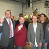 Courtesy photo/Gloucester Daily Times.  Local business owners convened recently for the New England division of the Master Brewers Association of the Americas.  From left are: Brent Ryan of Newport Distilling Co., Joe Swanson of Maine Distilleries, host Jeremy Goldberg of Cape Ann Brewing Co., Keith Bodine of Sweetgrass Farm Winery and Distillery, Ned Wight of New England Distillers and Bob Ryan of Gloucester's Ryan & Wood Distilleries.""