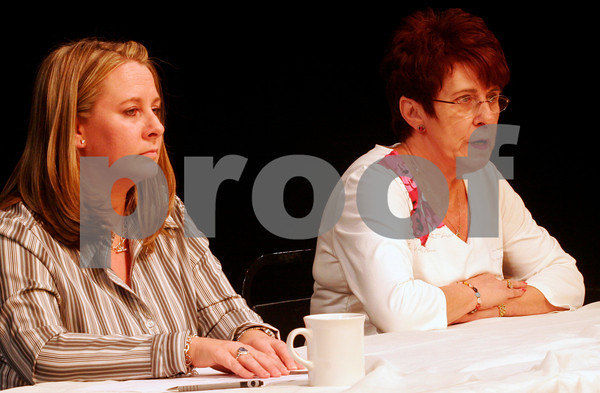 ALLEGRA BOVERMAN/Staff photo. Gloucester Daily Times. Gloucester: Ward 2 candidates Melissa Cox, left, and Ann Mulcahey during the Council Debates sponsored by the Gloucester Daily Times and Cape Ann Chamber of Commerce and held at the Gloucester Stage Company on Tuesday evening.