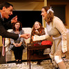 "ALLEGRA BOVERMAN/Staff photo. Gloucester Daily Times. Gloucester: The Cape Ann Theatre Collaborative presents A.R. Gurney's comedy ""Sylvia,"" at the Gloucester Stage Company. From left, in front, is Greg, played by Cliff Blake, Sylvia, played by Julie Cleveland; seated in back from left are:  Emily Sinagra as Kate, and Jennifer-Lee Levitz as Phyllis."