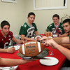 ALLEGRA BOVERMAN/Staff photo. Gloucester Daily Times. Gloucester: Thanksgiving is for turkey and football.Clockwise from left are Manchester Essex's Joe Burgess, Gloucester's Nick Taormina, Manchester Essex's Paul Pennoyer and Cooper Riehl, Gloucester's Kyle Lucido and Manchester Essex's Mavrick MacEachearn.