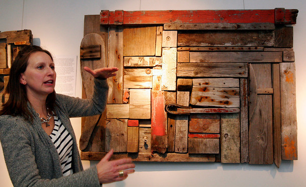 ALLEGRA BOVERMAN/Staff photo. Gloucester Daily Times. Gloucester: Nina Samoiloff of Rockport takes photos of, blogs about and makes artistic pieces with the trash and detritus she finds on the beach. Her work is on view currently at NOAA.