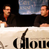 ALLEGRA BOVERMAN/Staff photo. Gloucester Daily Times. Gloucester: Ward 3 candidates Steve Cucuru, left, and Steve LeBlanc during the Council Debates sponsored by the Gloucester Daily Times and Cape Ann Chamber of Commerce and held at the Gloucester Stage Company on Tuesday evening.