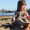 Lucy May Whelsky, 2, of Rockport enjoys the sand at Front Beach on Wednesday morning. Jesse Poole/Gloucester Daily Times Nov. 9, 2011