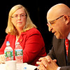 ALLEGRA BOVERMAN/Staff photo. Gloucester Daily Times. Gloucester: Gloucester Mayor and mayoral candidate Carolyn Kirk, left, and Ken Sarofeen during their debate on Wednesday evening at the Gloucester Stage Company.