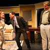 """ALLEGRA BOVERMAN/Staff photo. Gloucester Daily Times. Gloucester: The Cape Ann Theatre Collaborative presents A.R. Gurney's comedy """"Sylvia"""" at the Gloucester Stage Company. From left are Sylvia, played by Julie Cleveland, Cliff Blake as Greg, and Tom Adams as Tom."""