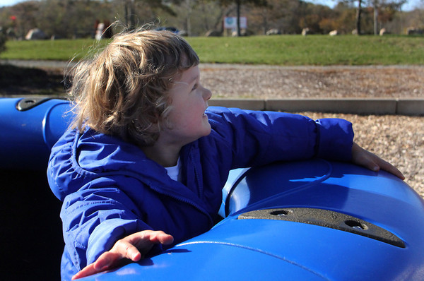 Chase Marshall, 3, of Gloucester, plays at the Stage Fort Park Playground on Wednesday afternoon. Jesse Poole/Gloucester Daily Times Nov. 2, 2011
