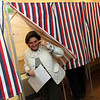 Allegra Boverman/Gloucester Daily Times. Governor's Council candidate Eileen Duff votes at Lanesville Community Center, her home precinct, on Tuesday.