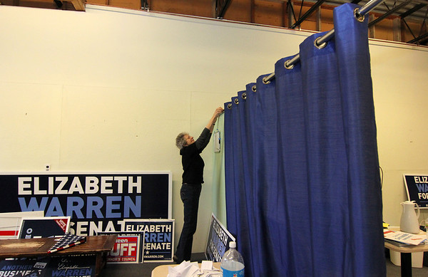 Allegra Boverman/Gloucester Daily Times. Helen Wiseman, chair of the Gloucester Democratic Committee, was dismantling the Gloucester Democratic headquarters in Gloucester on Wednesday after the elections.