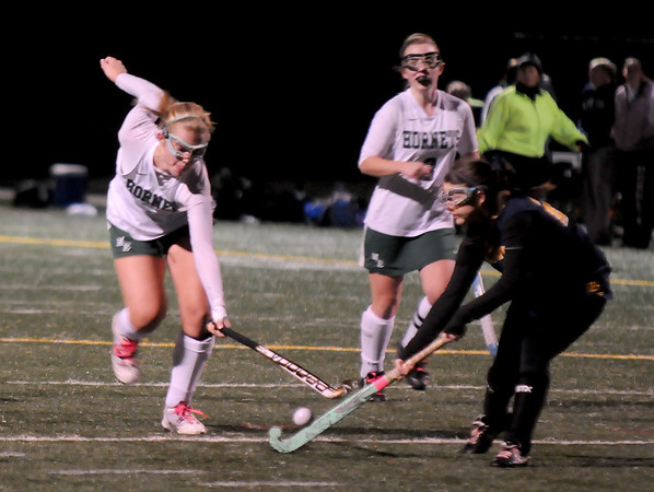 Jim Vaiknoras photo/Gloucester Times: Manchester's Brittany Smith knocks the ball away from a Lynnfield player during their game at Machester Essex high Saturday night.