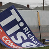 Allegra Boverman/Gloucester Daily Times. A political sign was blown over by the wind on Wednesday along Washington Street in Gloucester.