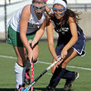 Allegra Boverman/Gloucester Daily Times.  From left: Anna Heffernan of Manchester-Essex and Angela Videtta of Swampscott in action during the MIAA North Division II Semi-finals held at North Andover High School on Saturday. Manchester-Essex beat Swampscott 2-0 and will play on Monday in North Andover against Watertown.