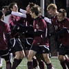 Allegra Boverman/Gloucester Daily Times. Rockport Boys Varsity Soccer team members  celebrate their goal against St. Mary's at Manning Field in Lynn on Tuesday night.