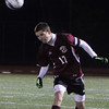 Allegra Boverman/Gloucester Daily Times. Rockport Boys Varsity Soccer team member Tucker Meredith in action against St. Mary's at Manning Field in Lynn on Tuesday night. Rockport beat St. Mary's 1-0 in the Div. III North Quarterfinals.