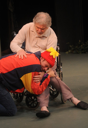 """Jim Vaiknoras/Gloucester Daily Times: David Cluett as the Fool and Joseph Stiliano as Lear in the Cape Ann Shakespeare troupe' s  """"Shakespeare in Two Acts,"""" at the Gloucester Stage Co"""