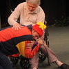 "Jim Vaiknoras/Gloucester Daily Times: David Cluett as the Fool and Joseph Stiliano as Lear in the Cape Ann Shakespeare troupe' s  ""Shakespeare in Two Acts,"" at the Gloucester Stage Co"