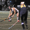Jim Vaiknoras photo/Gloucester Times: Manchester's Ivy Silag-Stearns stops a shot during the Hornet's game against Lynnfield  at Machester Essex high Saturday night.