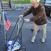 Gloucester:  Dale Boston of Gloucester made the short trip from his home sporting the american flag on his carriage as he came to vote at Our Lady of Good Voyage Church Tuesday morning.   Desi Smith/Gloucester Daily Times. November 6, 2012.