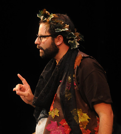 """Jim Vaiknoras/Gloucester Daily Times: Matthew Recine as Oberon, King of the Fairies, in the Cape Ann shakespeare troupe' s  """"Shakespeare in Two Acts,"""" at the Gloucester Stage Co."""