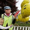 ALLEGRA BOVERMAN/Staff photo. Gloucester Daily Times. Several neighborhood kids and their families came to thank Beryl Barnes, right, of Rockport, the longtime crossing guard at Five Corners in Rockport on her last day on the job on Friday afternoon. Very sad to see her go is Morgan Brady, 5.