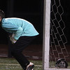Allegra Boverman/Gloucester Daily Times. Rockport Boys Varsity Soccer team goalie Eric Littlefield in action against St. Mary's at Manning Field in Lynn on Tuesday night. Rockport beat St. Mary's 1-0 in the Div. III North Quarterfinals.
