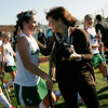 Allegra Boverman/Gloucester Daily Times.  From left: Anna Heffernan of Manchester-Essex greets her aunt, Kelly Heffernan, of Burlington, after the MIAA North Division II Semi-finals held at North Andover High School on Saturday. Manchester-Essex beat Swampscott 2-0 and will play on Monday in North Andover against Watertown.