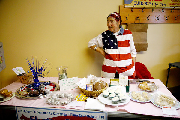 Allegra Boverman/Gloucester Daily Times. Sharron Cohen was overseeing the bake sale at the Lanesville Community Center during Election Day. She also colored her hair to resemble the American flag. The bake sale was sponsored by the community center and Plum Cove School PTC.