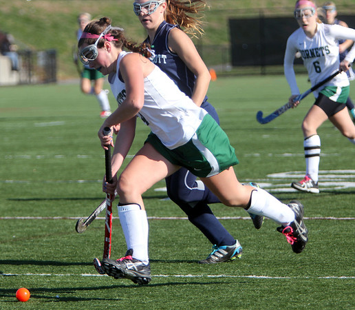 Allegra Boverman/Gloucester Daily Times.  In front: Anna Heffernan of Manchester-Essex  in action during the MIAA North Division II Semi-finals held at North Andover High School on Saturday. Manchester-Essex beat Swampscott 2-0 and will play on Monday in North Andover against Watertown.