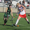 Jim Vaiknoras/Gloucester Times: Manchester Essex player Ivy Silag-Stearns fights for the ball with Watertowns Rachel Campbell during their Division 2 North Sectional Championship Game Monday at North Andover high school. Watertown won the game 2-0.