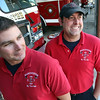 Allegra Boverman/Gloucester Daily Times. Manchester firefighter/paramedics Bobby Cavender and Jon McDiarmid wear their red shirts on Fridays to pay tribute to veterans.