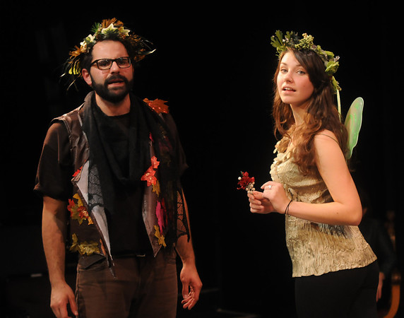 """Jim Vaiknoras/Gloucester Daily Times: Matthew Recine as Oberon, King of the Fairies,and Rachel Sternlicht as Puck in the Cape Ann Shakespeare troupe' s  """"Shakespeare in Two Acts,"""" at the Gloucester Stage Co."""