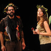 "Jim Vaiknoras/Gloucester Daily Times: Matthew Recine as Oberon, King of the Fairies,and Rachel Sternlicht as Puck in the Cape Ann Shakespeare troupe' s  ""Shakespeare in Two Acts,"" at the Gloucester Stage Co."