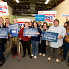 Desi Smith/Gloucester Daily Times. Happy Democrats celebrate their representatives while holding a party at the Democratic headquarters in downtown Gloucester on Tuesday night.