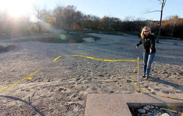 Allegra Boverman/Gloucester Daily Times. Nikki Bach, a general contractor who is helping with the construction of the Gloucester Dog Park at Stage Fort Park, talking about the progress and plans.