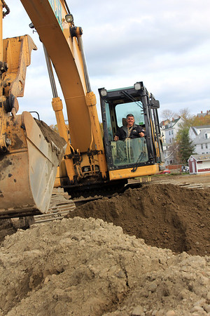 ALLEGRA BOVERMAN/Staff photo. Gloucester Daily Times. Newell Stadium at Gloucester High School on Friday as it undergoes renovation. Todd Heimlich of Heimlich Brothers Corporation of Woburn works at the site.