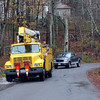 Allegra Boverman/Gloucester Daily Times. A National Grid truck was working on Apple Street in Essex on Thursday morning after the Nor'easter.