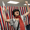 Allegra Boverman/Gloucester Daily Times. Li Vandeventer of Rockport, 19, exults because this is her first election she has been able to participate in. She was so excited about voting for the first time on Tuesday.