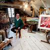 Jim Vaiknoras/Gloucester Daily Times. Robert Hanlon n his studio at Walker Creek Gallery in Essex.