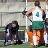 Allegra Boverman/Gloucester Daily Times.  Swampscott's Nora Walker, far left, works with goalie Katie Samiljan (hidden) to prevent the ball from getting in the goal during the MIAA North Division II Semi-finals held at North Andover High School on Saturday. Working to get the ball in there are, from center to right: Manchester-Essex players Anna Heffernan,  Kelsi Field, kneeling, and in back, Taylor Meek. Manchester-Essex beat Swampscott 2-0 and will play on Monday in North Andover against Watertown.