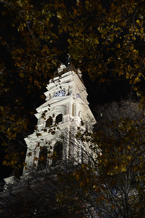 Desi Smith/Gloucester Daily Times. A view of the newly renovated City Hall clocktower lit up at night.