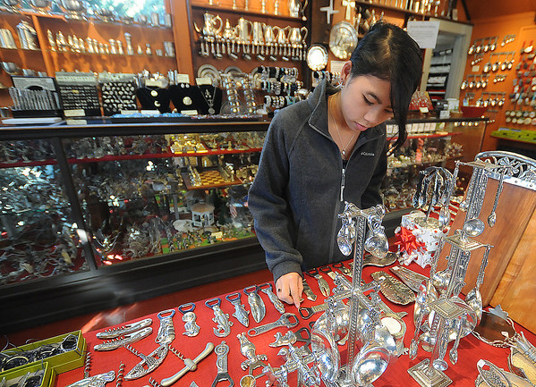 JIm Vaiknoras/Gloucester Daily Times.Sandra Jones, 13, checks out the merchandise at The Pewter Shop  on Bearskin Neck in Rockport Friday.