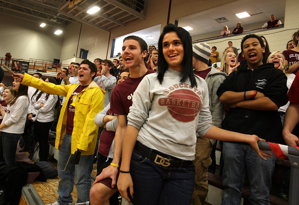 """Gloucester: Gloucester High School students chant """"Beat Danvers!"""" during a pep rally at the Benjamin A. Smith Fieldhouse yesterday morning. Gloucester plays Danvers in the annual Thanksgiving football game today. Photo by Kate Glass/Gloucester Daily Times"""