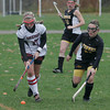 Rockport: Rockport's Alix McManus brings the ball down the line during the MIAA Division 2 North Quarter Finals against Bishop Fenwick in Rockport on Saturday. Photo by Kate Glass/Gloucester Daily Times