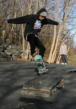 Rockport: Tim Mears gets some air while skating at the Matt Waddell Skate Park yesterday afternoon. Photo by Kate Glass/Gloucester Daily Times